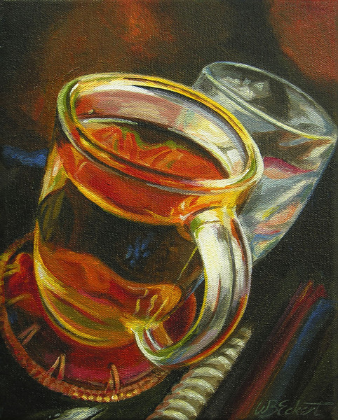 "Tea in a Glass Cup (Study, Acrylic on Canvas, 8""x10"")"