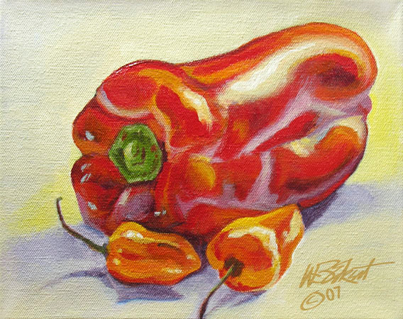 "Two Habaneros and One Not (acrylic on canvas, 8""x10"", SOLD)"