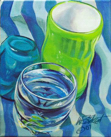 """3 Cups on Stripes"" (Acrylic on canvas study 8""x10"")"