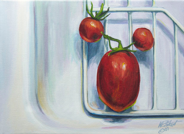 """Three Tomatoes in Sink""  (acrylic on canvas, study, 9""x12"")"