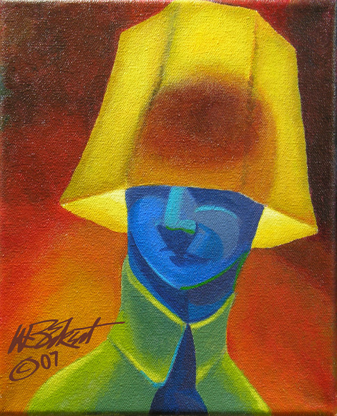 """Blue Man Wearing Lampshade""  (acrylic on canvas, 8""x10"", collection of the artist)"