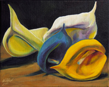 Four Faux Flowers (acrylic on canvas, SOLD, private collection)