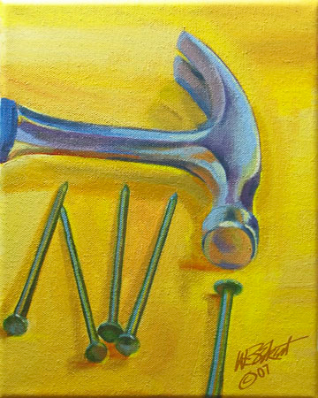 "Hammer and Nails on Yellow Table (acrylic on canvas, 8""x10"")"