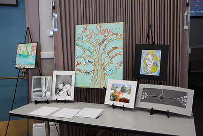 Display of the award-winning entries from NBISD in the 2017 PTA Reflections Contest, during the May 4, 2017 PTA awards program.