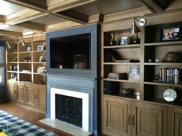 Custom Stain on Coffered Ceiling and Built-in Cabinetry