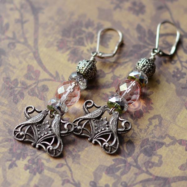 fine silverware plated bird filigree and vingtage pink beaded earrings