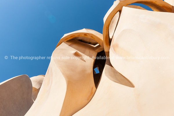 Chimneys and rooftop architecture Casa Milà also known as La Pedrera is a modernist building in Barcelona, Catalonia, Spain.