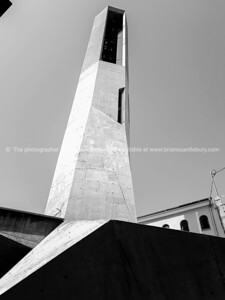 Concrete modern church bell tower in Murla Spain