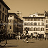 Florence, historic Italian city in sepia.