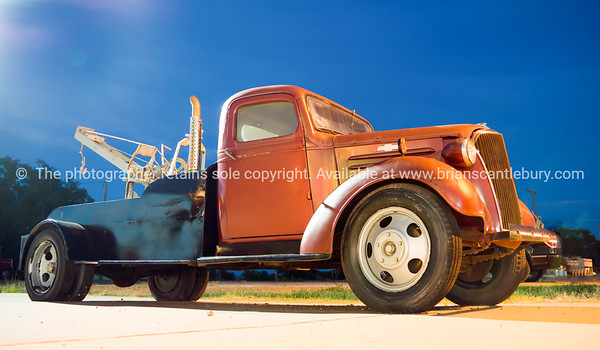 Restored Chevrolet tow truck at U Drop Inn, Shamrock, Texas, USA.