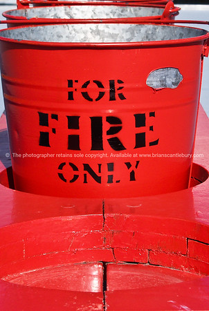 Red buckets.