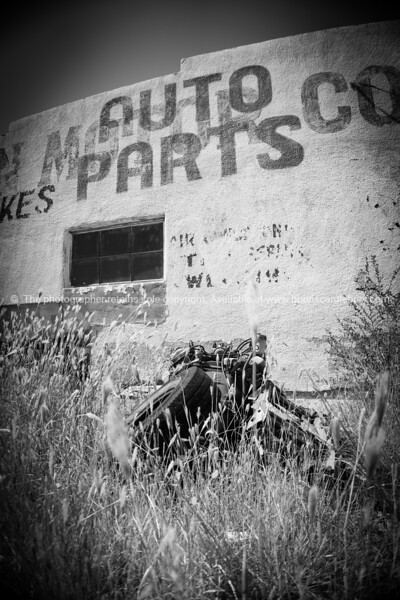 Auto Parts  sign on wal Was once an auto repair shop, long abandoned, Mother Road remains, San Jon, Route 66, New Mexico, USA.