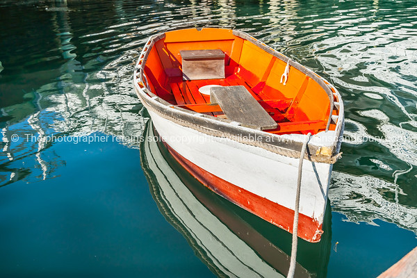 Classic style dinghy in sepia. Boothbay, Maine, USA