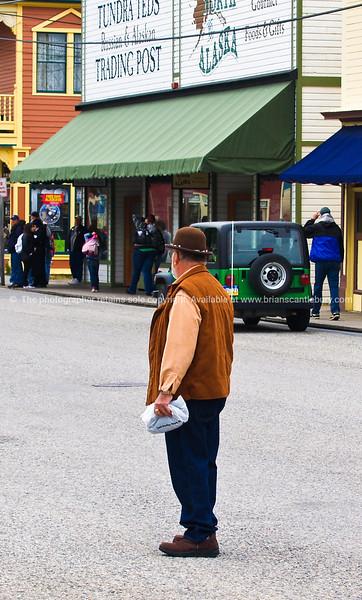 Man in street in Skagway, Alaska.