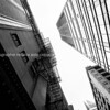 Chicago buildings, towering overhead, black and white. Illinois, USA