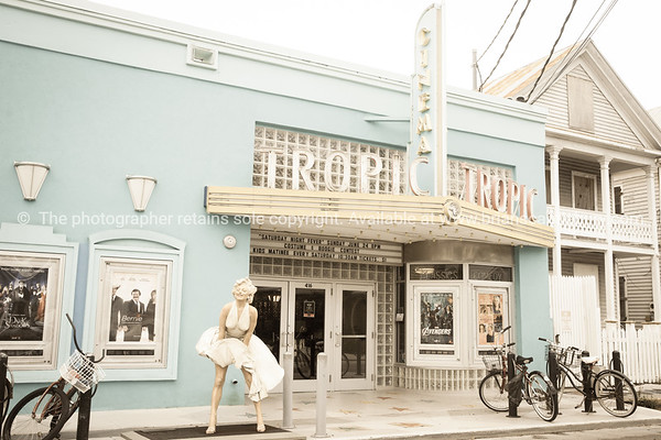 Tropic Cinema, Key West with statue of Marilyn Monroe near entrance.