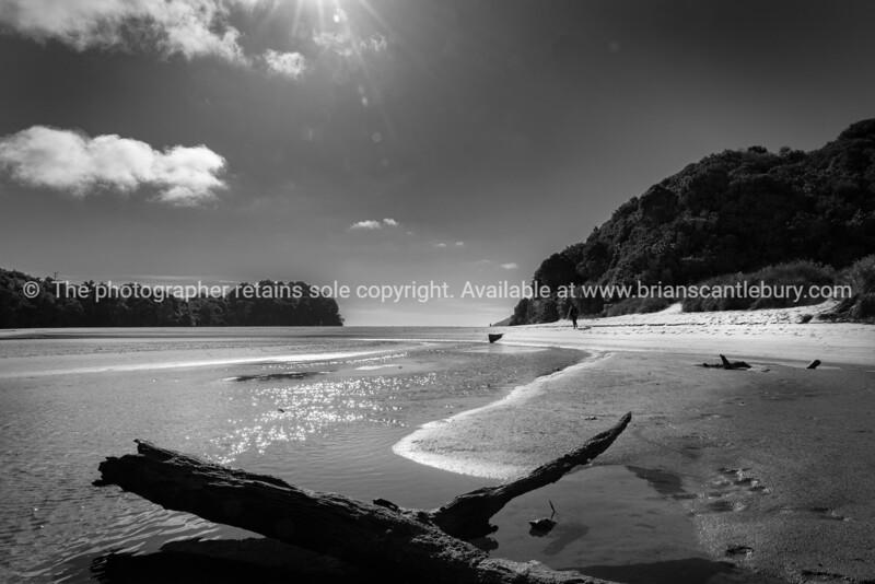 Shallow stream across low tide beach looking into sun in idyllic summer beach scene at Mill Creek, Stewart Island