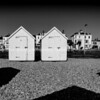 Beach sheds, Deal waterfront with old historic buildings and shadows