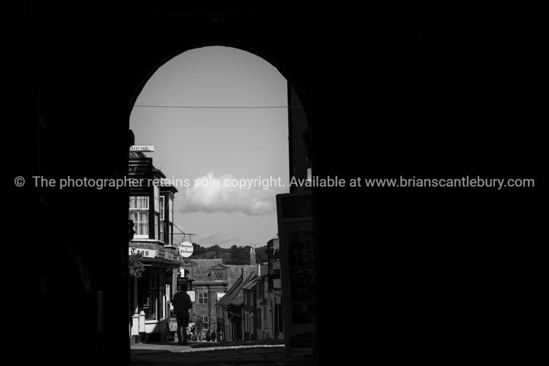 Rye street scene through architectural arch