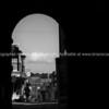 Rye street scene through architectural arch
