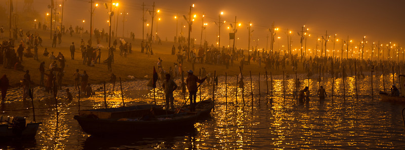 Dusk at the Sangam, Kumbh Mela 2013, Allahabad, India.