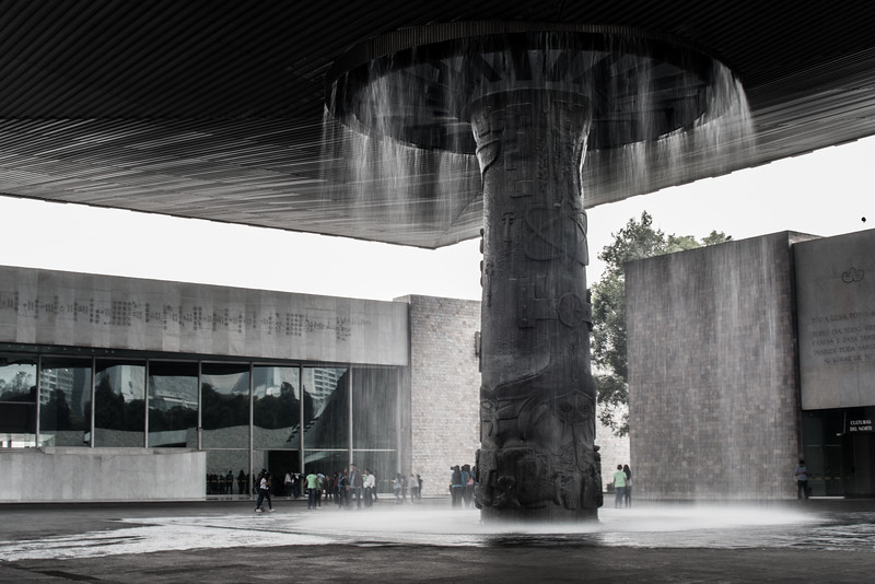 Water feature in the central hall of the Anthropology Museum