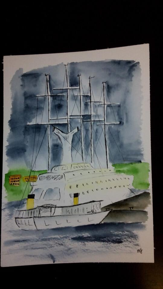 Visiting 5-mast cruiser