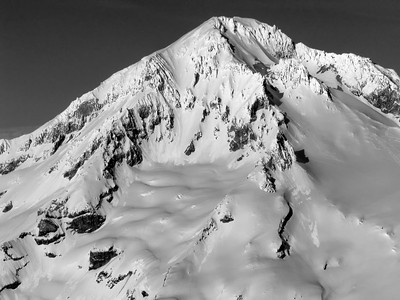 The top of Mt  Hood in black and white