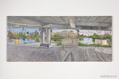 03_Paczos_Chicago_river,_north_branch_turning_basin_from_under_north_ave _bridge,_2010,_46x20