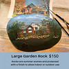 Hand painted garden rocks of your home or business, coated with several coats of acrylic finish, suitable for outdoor use. Details and wording to your specifications.  $150  (Please ask about special pricing for very large detailed homes, i.e. Victorians.)