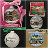 """Home for the Holidays"" glass ornament hand painted, coated with a protective spray, and nestled in a gift box with a photo of your house decoupaged on top.  Winter snow scene with Christmas decorations added if desired. $95"