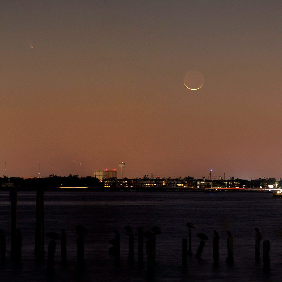 Pelicans sit on pier posts in Clear Lake as the thin crescent Moon and Comet PANSTARRS hang low in the sky over NASA Johnson Space Center