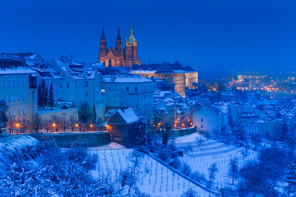Prague Castle from Strahov under snow