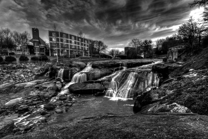 Waterfall On The Reedy River BW
