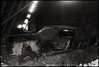 A beat-up Mustang in the barn behind Lacey's house. One of the spots we were hoping to photograph her.