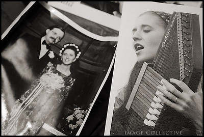 Lacey's parents wedding picture and a picture of her mother Betsy playing music. We found these pics in her front room of the house.