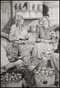The Coffey family house has several drawings on the walls of their family and friends playing traditional Appalachian mountain songs. Drawings by Willard Gayheart a well known folk pencil artist who also has several drawings of Lacey's Mother Betsy and her father John. This one in particular was in the hallway of her house and had such a warm feeling to this scene.
