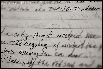 A City That Accepted Me. Writings of Lacey's found in a beat-up old purse in a box of items left behind to organize.