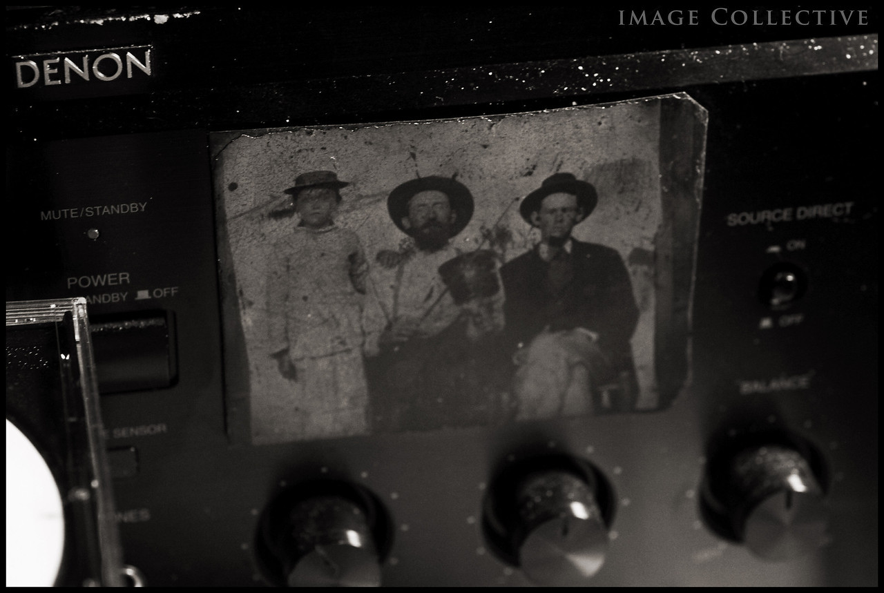 A turn of the century tin type John had adhered to his stereo. I asked him if he was related to these old time musicians and he said he just like the photo!