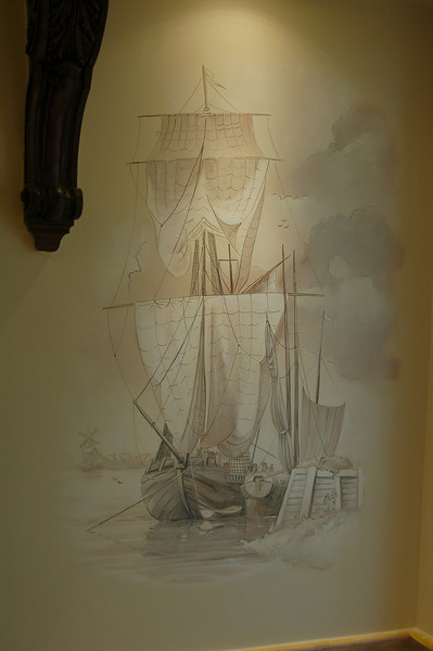 old world lithograph of ship mural