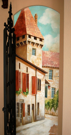 trompe l'oeil village street scene