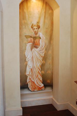 woman on stairs mural trompe l'oeil