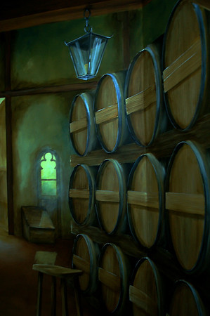 detail from 'old winery' wall mural trompe l'oeil