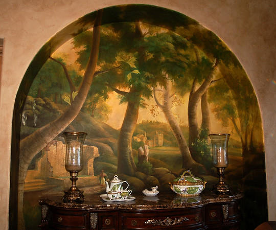 old world forest mural