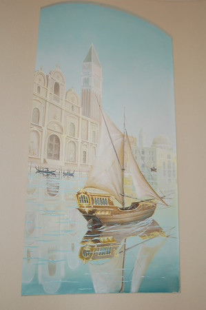 morning on venice canal mural with boat
