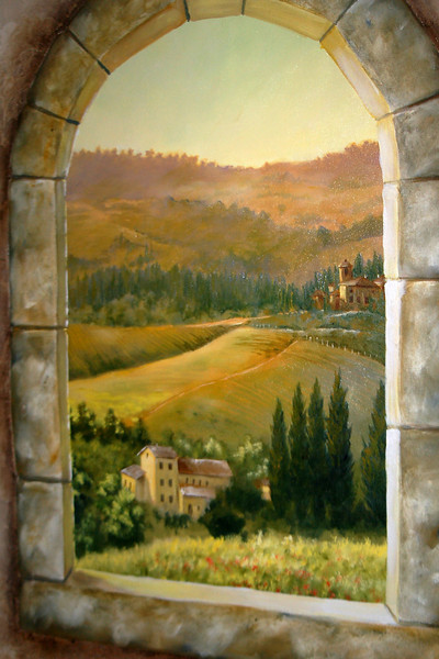tuscany morning window scene trompe l'oeil