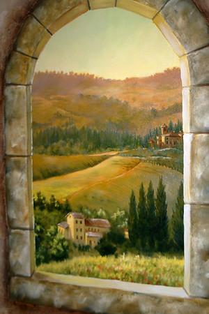 tuscany morning window scene trompe l'oeil