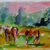 Horses in Field - SOLD