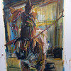 Horse on Crosstie- Oil on Lenox- SOLD