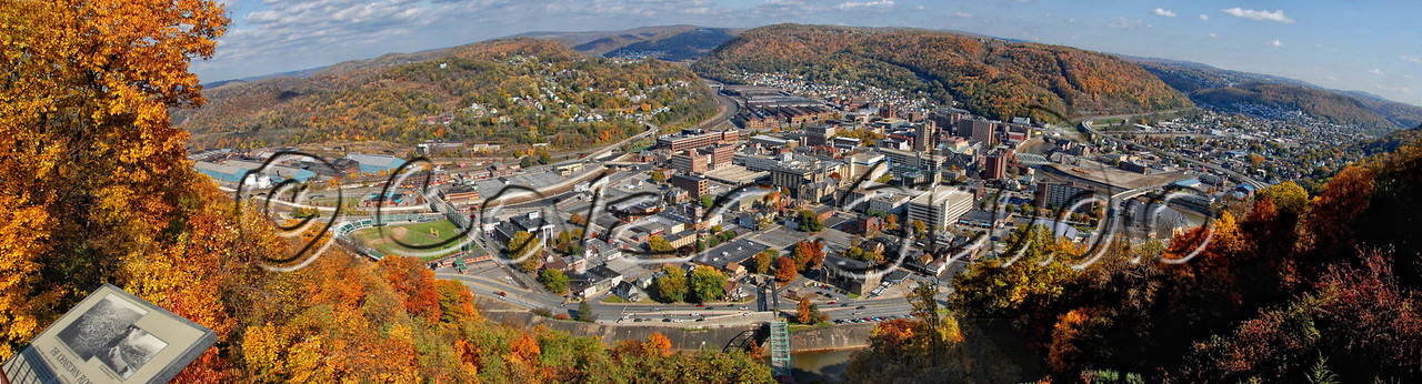 Panoramic view of the city of Johnstown, PA works well cropped to an 8x30 or 5x20.  Please contact us to order this photo